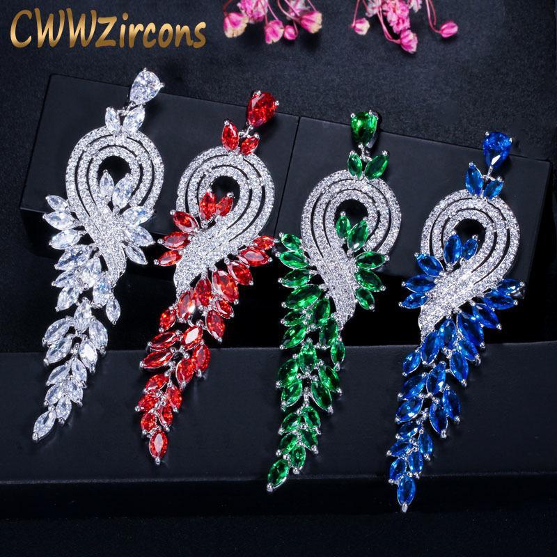 Cwwzircons Marque De Haute Qualité Blanc Or Couleur Cristal Autrichien De Mariée Longue Rouge Vert Boucles D'oreilles Bijoux Pour Femmes Cz376 C19041101