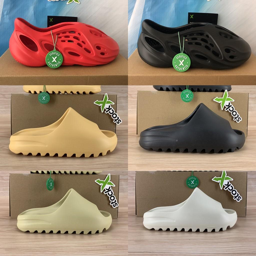 kanye west Schaum Läufer Pantoffel Sandale Schuhe Männer Frauen dreifach schwarz weiß rot Wüstensand Knochen Harz Art und Weise gleitet Flip Sandalen