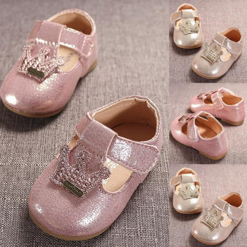 Newborn Baby Girl Flower Sneakers Toddler Cotton Bow Crown Princess Shoes Sequin Stars Leather Shoes 0-24m Soft PU Baby