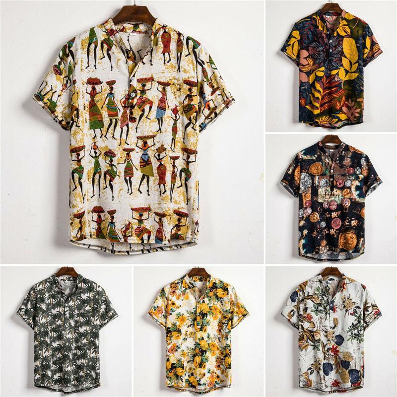 Homens estilo étnico impressão camisas de linho Summer manga curta Slim Fit Camisas Masculino Homens Streetwear Floral soltas Casual Camisa Blusa Top