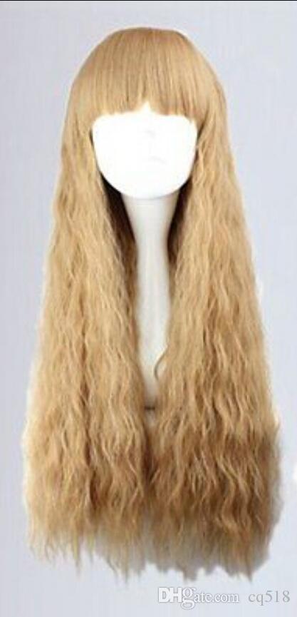 Парик бесплатная доставка новый лолита длинная блондинка вьющиеся модные женские волосы парик с челкой