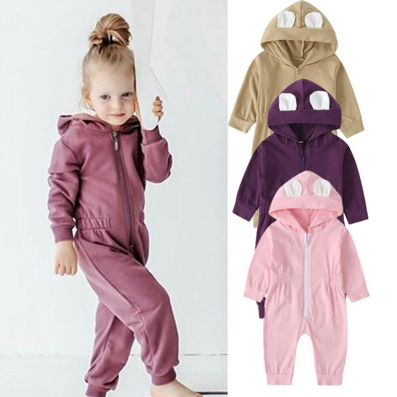 Bebê recém-nascido Meninas manga comprida com capuz Zipper Romper Macacão Bodysuit Conjuntos / POR