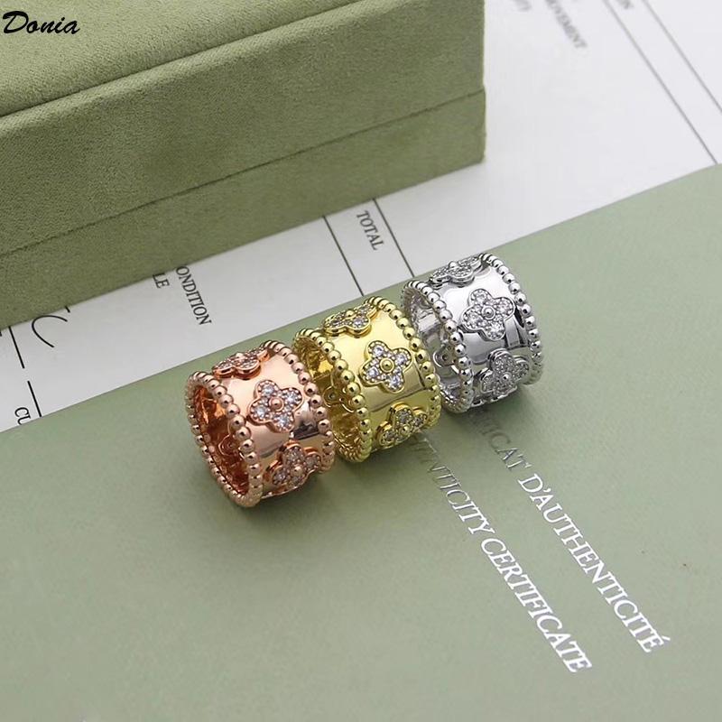 남성과 여성을위한 Donia 보석 디자이너 링 매화 구리 마이크로 상감 지르콘 반지 유럽과 미국의 크리 에이 티브 반지 선물