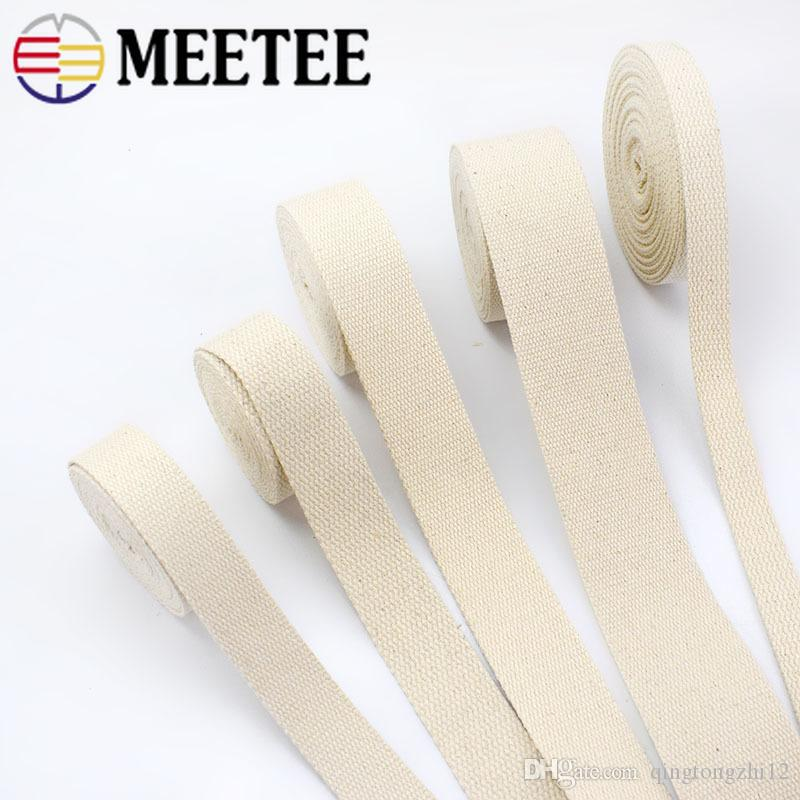 Meetee Cotton Webbing 20/25/32/38/50mm Natural Color Cotton Ribbon for Bag Strap Belt DIY Sewing Clothing Home Decor Craft AP320