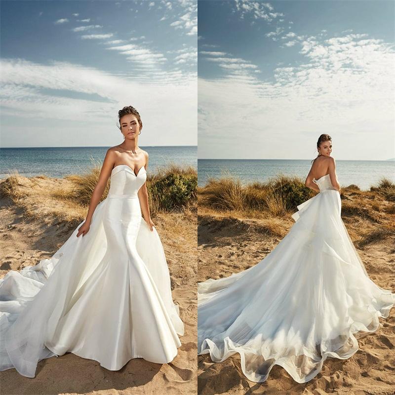Zarif Deniz Kızı Gelinlik Straplez Kolsuz Dantelli Saten Tül Boho Gelin Giydirme Sweep Tren Custom Made Plaj Gelin Elbise