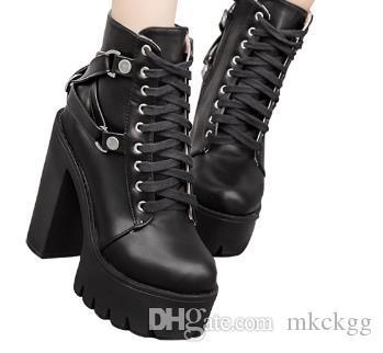 Compre Gdgydh Moda Botas Negras Mujer Tacón Primavera Otoño Con Cordones Zapatos De Plataforma De Cuero Suave Mujer Partido Botines Tacones Altos A
