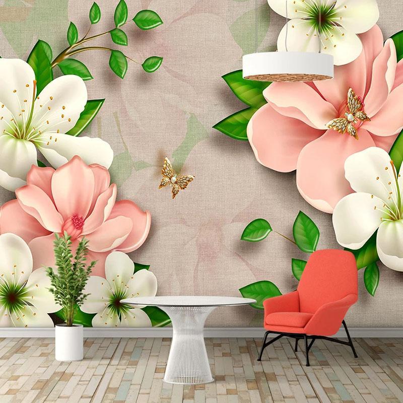 Pvc Self-Luchespive Wallpaper 3d Stereo Flowers Photo Wall Murals Living Room TV Softwa Home Decor Wall Sticks Wallpapers