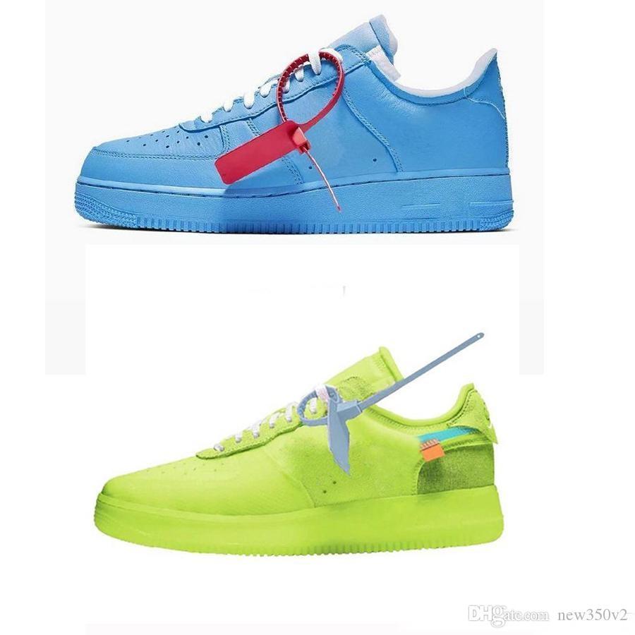 Las nuevas llegadas Fuerzas Volt Calzado casual para hombre de la Mujer Formadores Forced Zapatos Uno Deportes Monopatín azul clásico Guerrero 1 Verde Blanco Negro