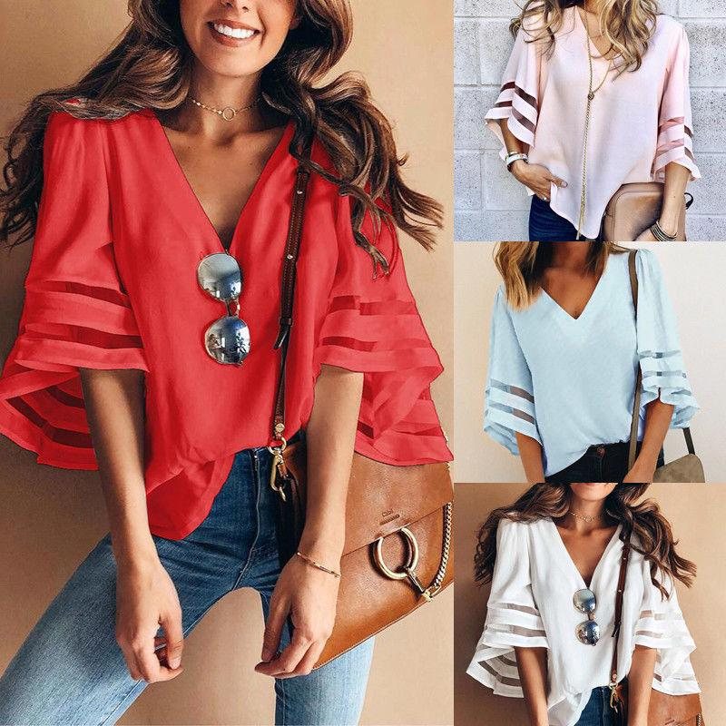 Fashion V Neck Solid Women Casual Loose Butterfly Sleeve Chiffon Blouse