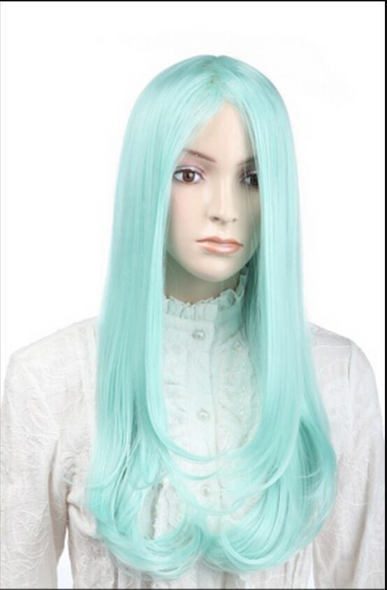 Парик доставка DH65 Harajuku пушистый парик косой челкой длинные волосы мятно-зеленый COSPLAYWIG