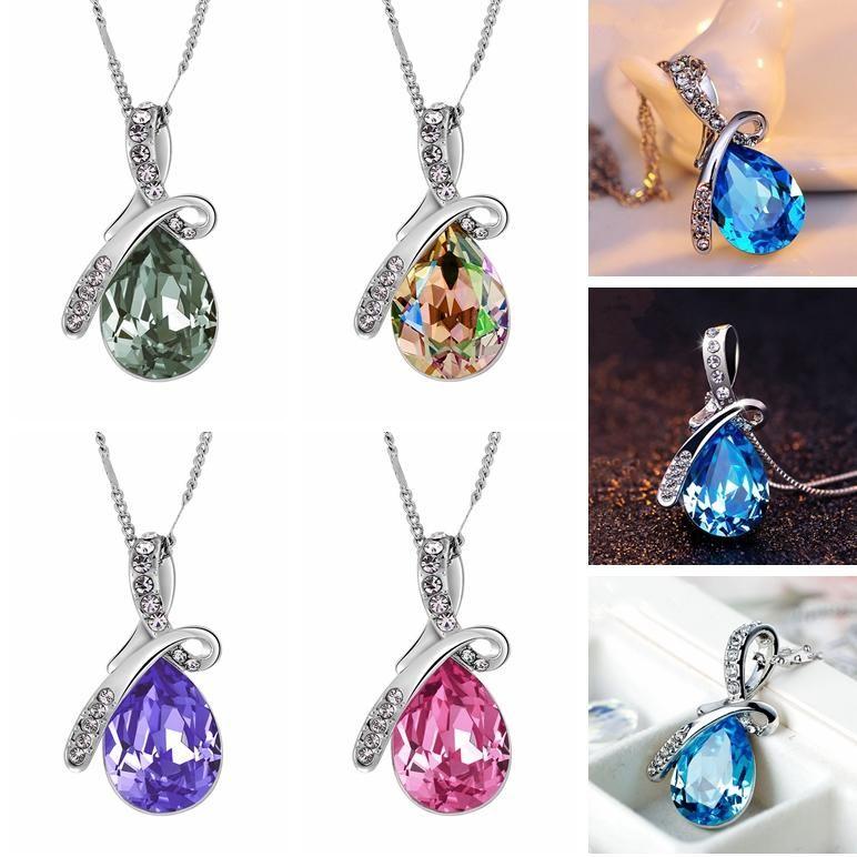 Tear Ангел Кристалл ожерелье Мода женщина Слеза падение ожерелье Открытого Lady Travel Jewelry девушка подарок партия LJJ_TA1112