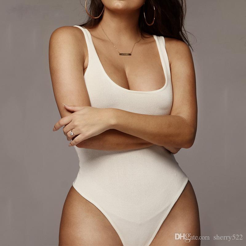 HISIMPLE 2019 mangas básico Solid Body sin espalda Body mujeres blancas de la playa del verano Negro delgado de la tapa del tanque Monos Monos bodycon