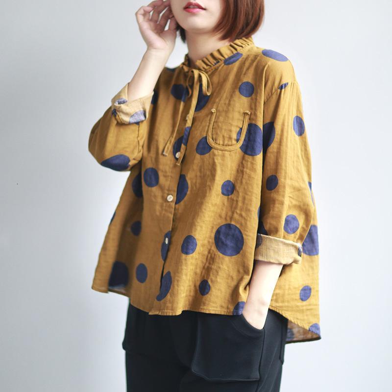 Plus Size mulheres Blusas Mulheres Polka Dot Shirts 2,019 Verão Estilo New japonesa Tops Blusas manga comprida Cardigan Mulheres Vintage Shirts