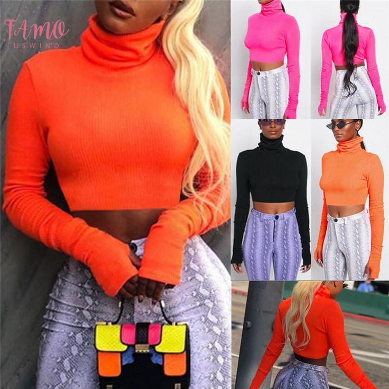 미국 주식 여성 거북 목 자르기 최고 여성 긴 소매 일반 T 셔츠 드롭 배송 좋은 품질