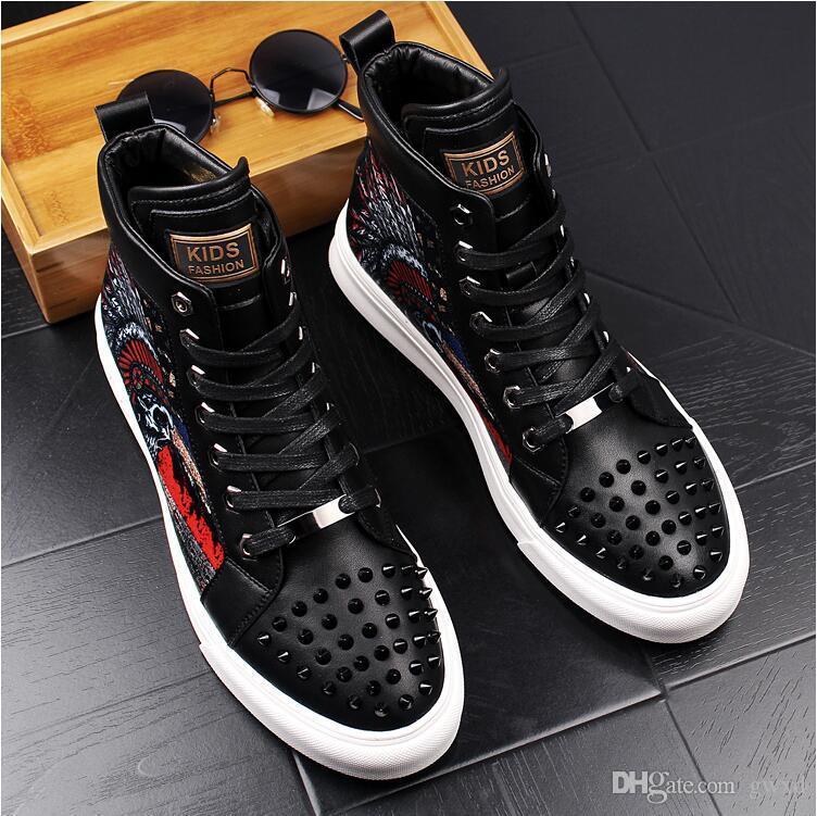 High Hip Hop Casual Shoes Men Black