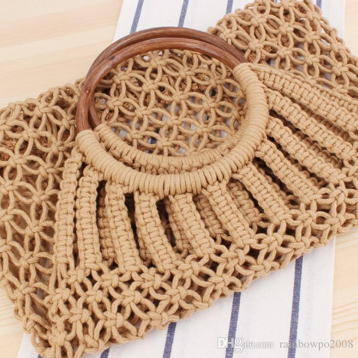 Factory wholesale women handbag summer new solid color rattan hand woven bag forest is handmade cotton rope net bag holiday beach bag women