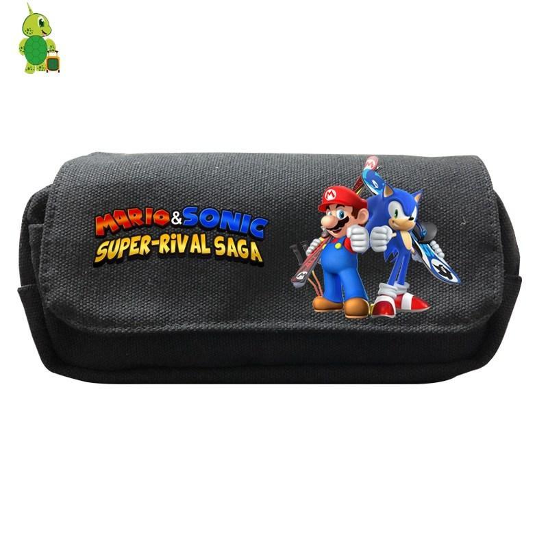 Super Mario Sonic Pencil Bags Double Layer Cosmetic Case Cartoon Canvas Storage Bags Purse Kids Boys Girls School Supplies