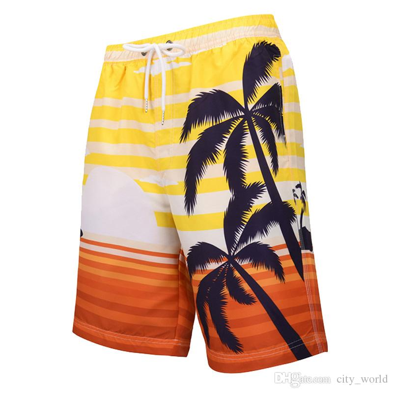 Mens Colorful Coconut Tree Beach Shorts Swim Trunks Swimwear Summer Swimsuit Beachwear Hawaiian Surfing Boardshorts with Mesh Lining Pockets