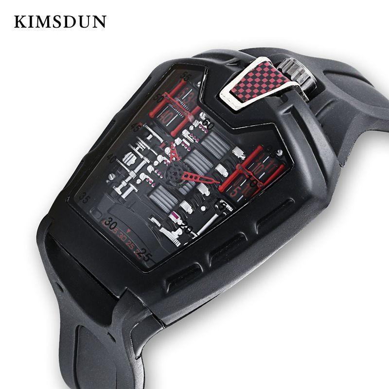 KIMSDUN Personnalité de Tendance Mode Hommes Classique Quartz Racing gratuit carré Bracelet en silicone Horloge Casual Sport Relogio