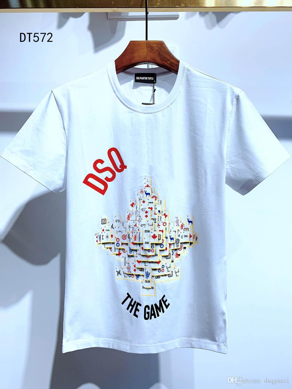 DSQ Herren Designer-T-Shirts Schwarz Weiß Mann-Sommer-Art und Weise beiläufige Street T-Shirt Tops Short Sleeve Euro-Größe M-XXXL 6837