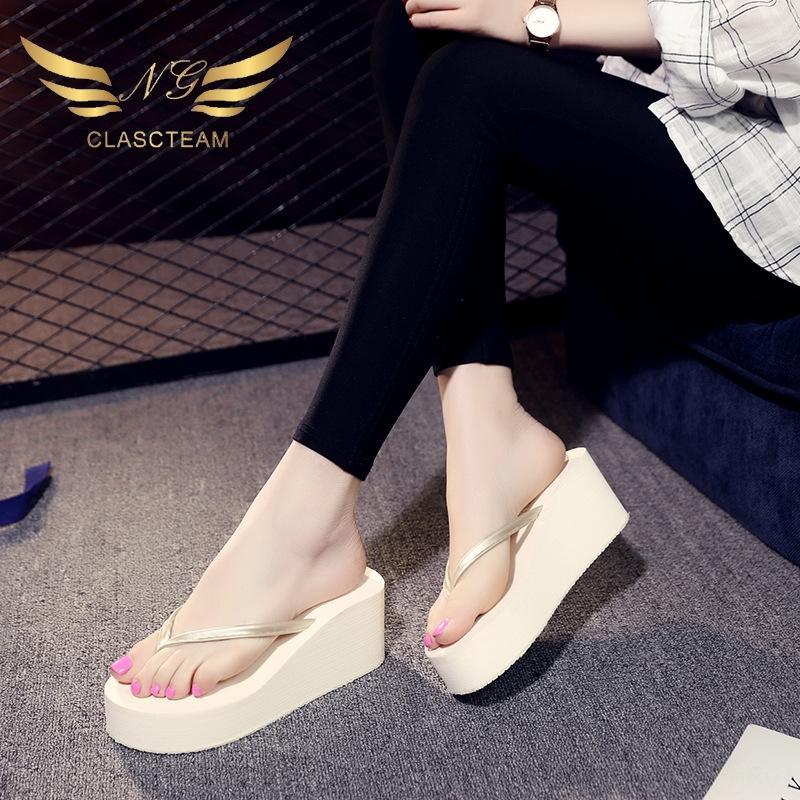 Verano flip-flop de las mujeres antideslizante cuña de color sólido chanclas y sandalias antideslizantes al aire libre tamaño sandalslarge sandalias de suela gruesa-casual