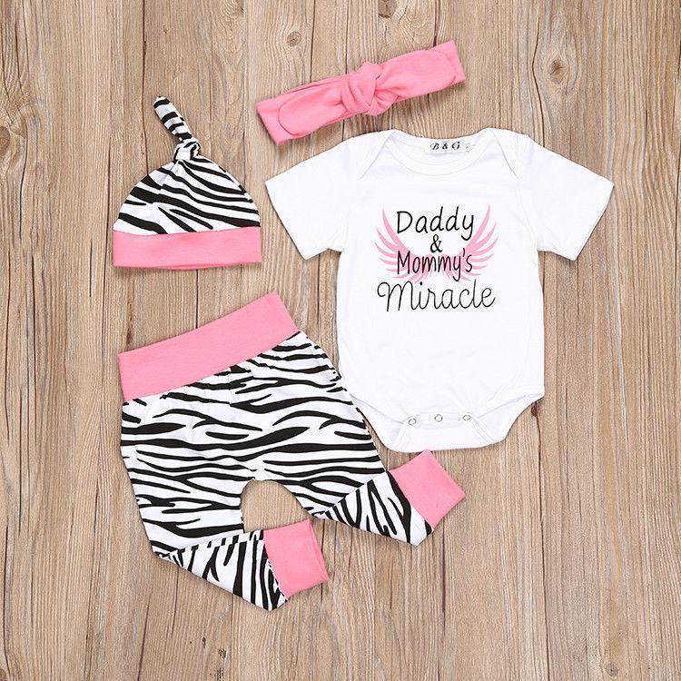 4pcs al bebé recién nacido de la ropa del Carta Rompers + polainas + sombrero + diadema Trajes a rayas infantil muchachos de las niñas juego de ropa