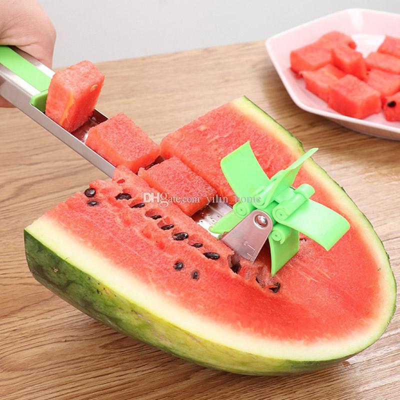 풍차 수박 절단 스테인레스 스틸 나이프 Corer 집게 과일 야채 도구 수박 슬라이서 커터 주방 가제트