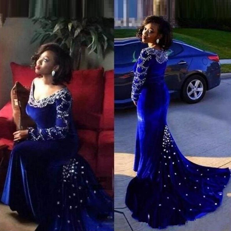 2019 Black Girls Mermaid Aso Ebi Evening Gowns Royal Blue V-Neck Long Sleeve Lace Applique Sequins Sweep Train Party Prom Dresses