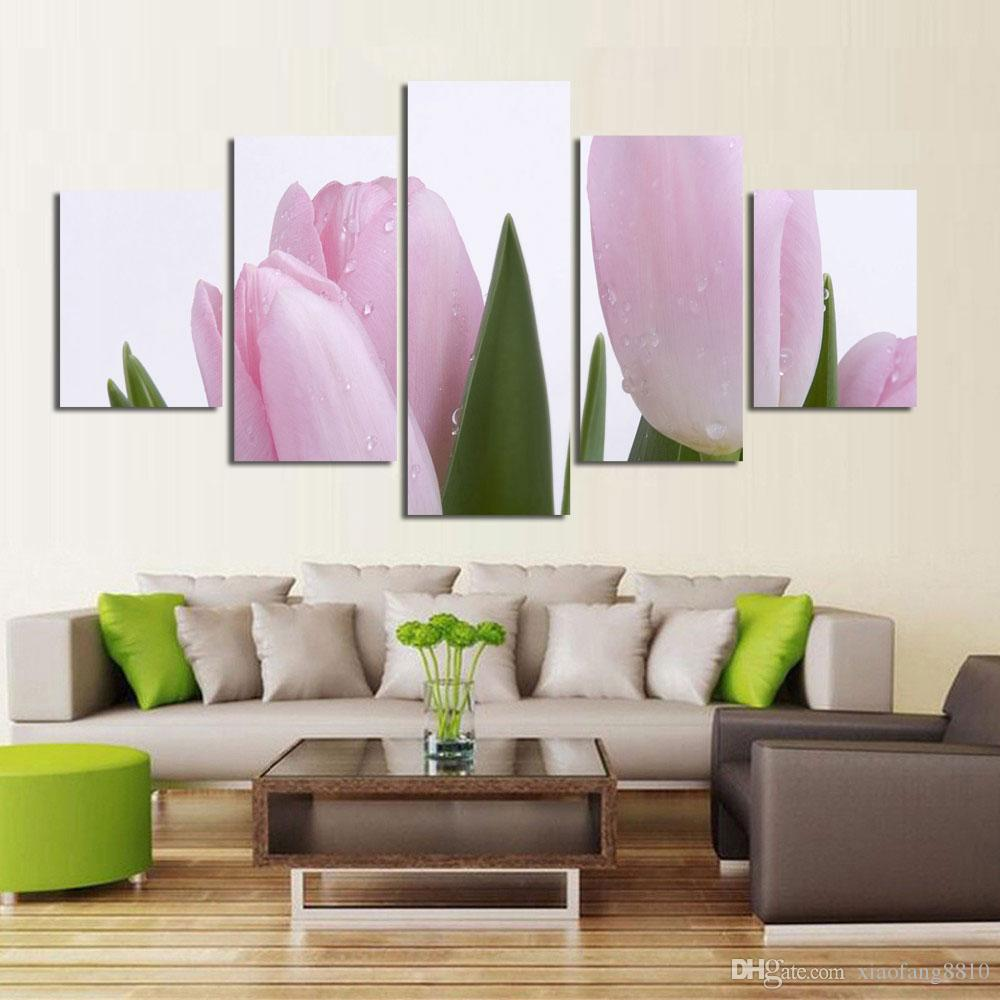 5Pcs Romantic Canvas Painting flower Oil Painting Large Wall Art Pictures For Living Room HD Print On Canvas no frame