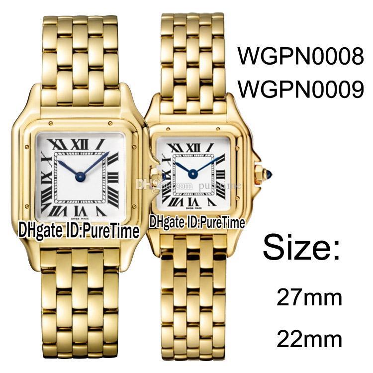 Yeni WGPN0008 WGPN0009 Sarı Altın 27mm / 22 mm Beyaz İsviçreli Kuvars Kadın İzle Bayanlar Paslanmaz Çelik Saatler 10 Renkler Puretime CAT-B25b2 Dial