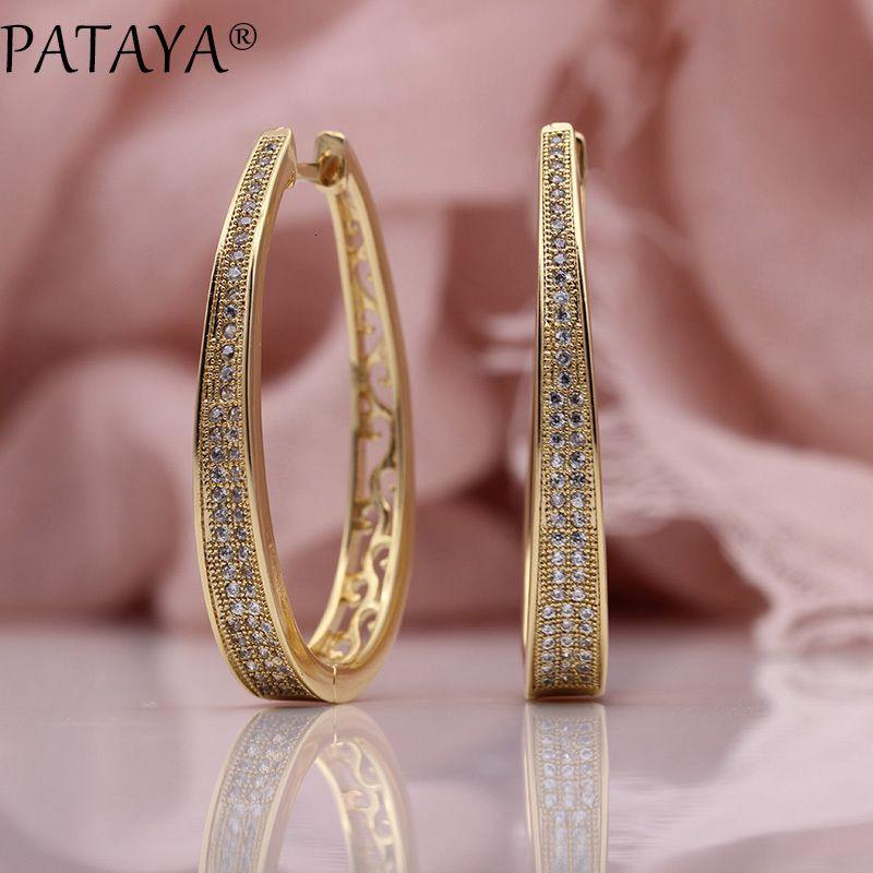 Pataya Yeni Düzensiz Büyük Çember Küpe Kadınlar Moda Takı 585 Rose Gold Beyaz Mikro Wax Kakma Doğal Zirkon Dangle Küpe Y19050901