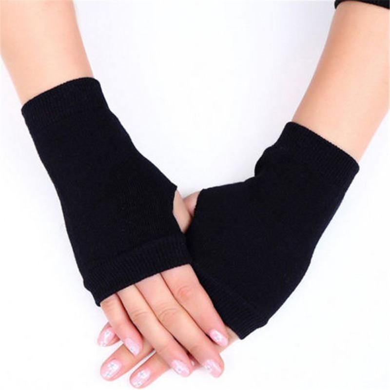 Женщины Вязаные перчатки руки теплые зимы теплые перчатки Lady Arm Вязание Вязание Хлопок Половина Пальцы перчатки Женский Fingerless Рукавицы