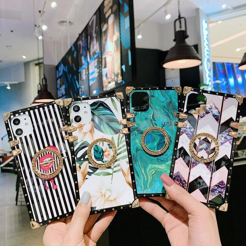 Piazza Fiore banda in marmo Diamond Ring caso del basamento di iPhone per 11 Pro XR XS MAX X 8 7 Samsung S10 Inoltre Nota 10 10+ S20 Ultra A20 A70 A51 A71