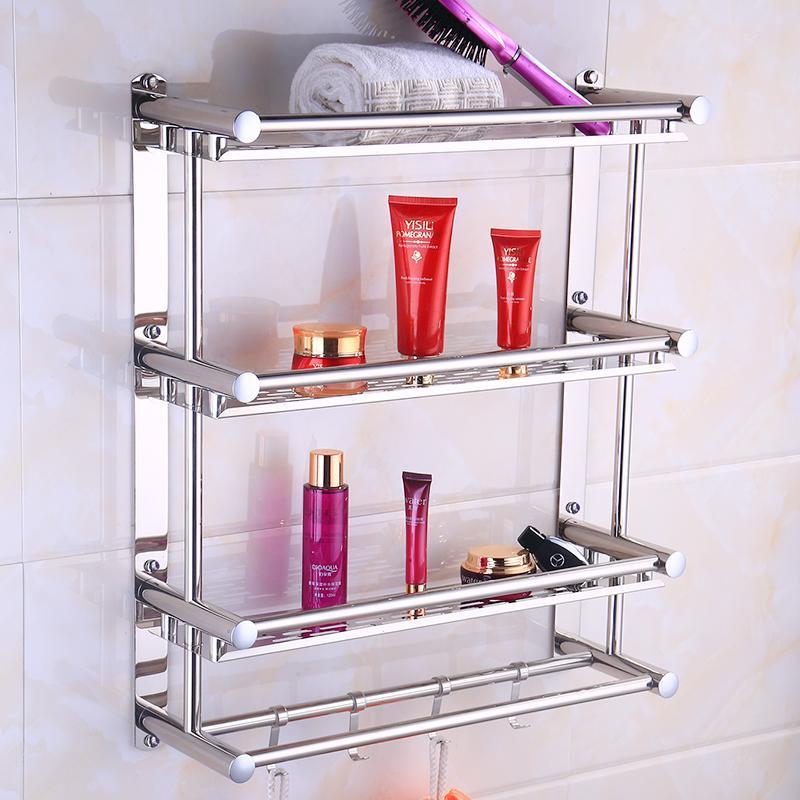 로브 후크 벽 304 개 스테인레스 스틸 3 층 욕실 선반 샤워 샴푸 비누 화장품 선반 욕실 액세서리 마운트