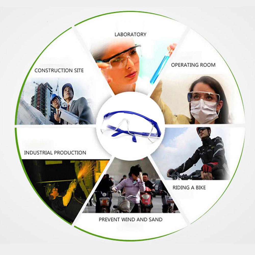 Emniyet Gözlükler Siyah / Mavi Şeffaf Fonksiyonlu Salgın Önleme Gözlüğü Spor Antibakteriyel Anti-Fog / Anti-Tükürük Gözlüğü