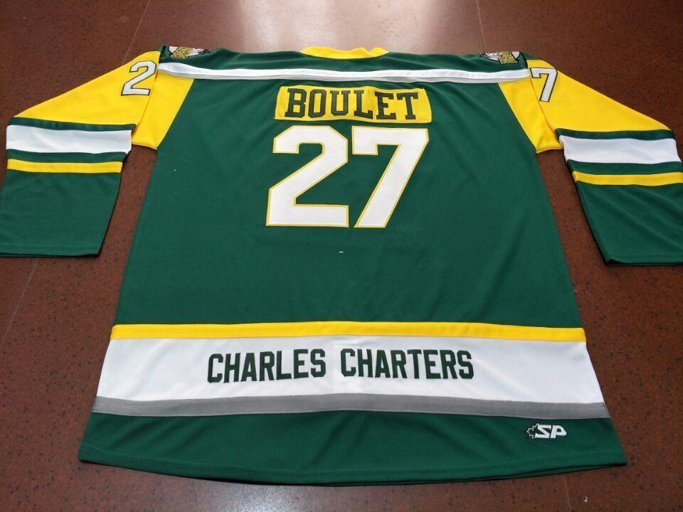 Männer CHARLES CHARTERS # 27 Logan Boulet Humboldt Broncos echte grüne Stickerei-Hockey-Jersey oder benutzerdefinierten beliebigen Namen oder Nummer Retro Jersey