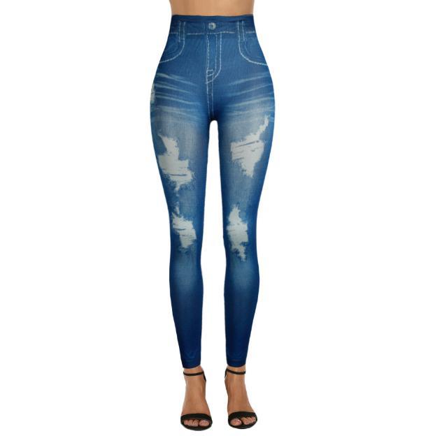 2019 Women New Fashion Classic Stretchy Slim Leggings Sexy imitation Jean Skinny Jeggings Skinny Pants big size bottoms ALE399