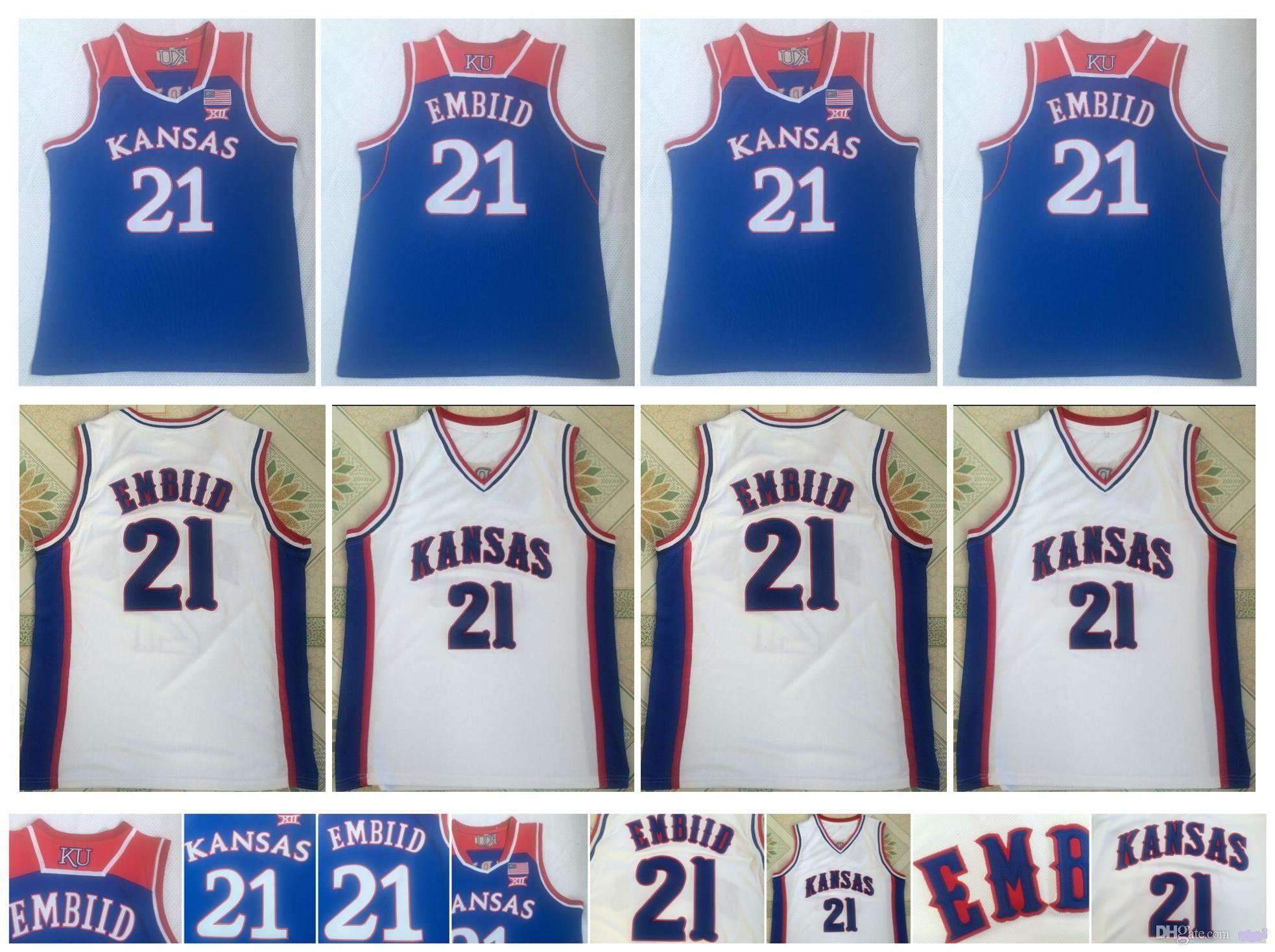 2021 Joel 21 Embiid Jersey NCAA Kansas Jayhawks College Basketball ...