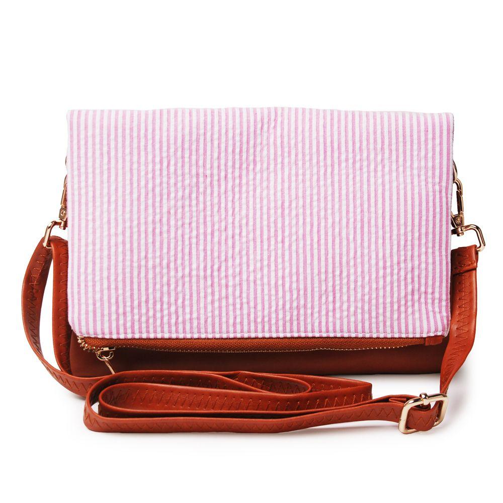 Wholesale Blanks Seersucker Joint PU Faux Leather Material Clutch Shoulder Bag Foldable Cross Body Bag DOM103286