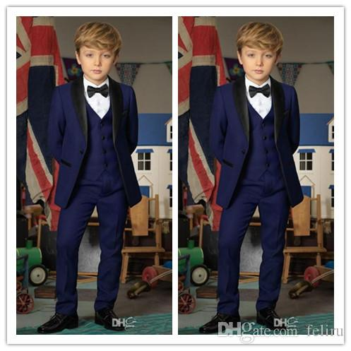Handsome New Navy Blue Boys Tuxedo Boys Dinner Suits Custom Made Tuxedo for Kids Tuxedo Formal Occasion Suits For Men (Jacket+Pants+Vest)