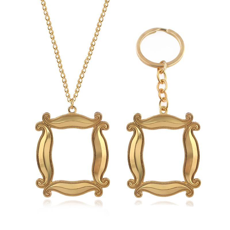 تلفزيون الجديد عرض الأصدقاء المعادن الحلي الذهبية إطار الصورة قلادة سلسلة مفتاح للنساء الرجال أفضل صديق مجوهرات هدية