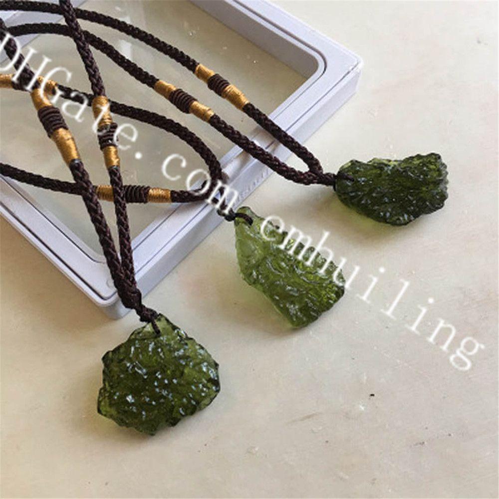 10Pcs Rare Random Size Irregular Natural Green Moldavite Crystal Stone Meteorite Pendant Necklaces Genuine Czech Tektite Gemstone Pendants