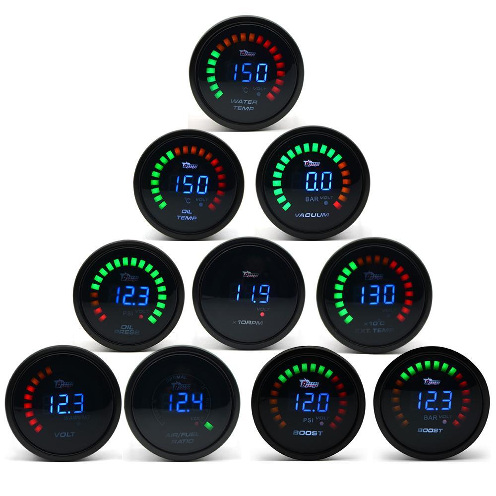 """EJDERHA GÖSTERGESİ 2"""" 52mm / Su Sıcaklığı / Yağ Sıcaklık / Yağ Basıncı / Takometre / Volt / Hava Yakıt Oranı / EGT / Vakum Ölçer Dijital + Mastar Kapsüller"""