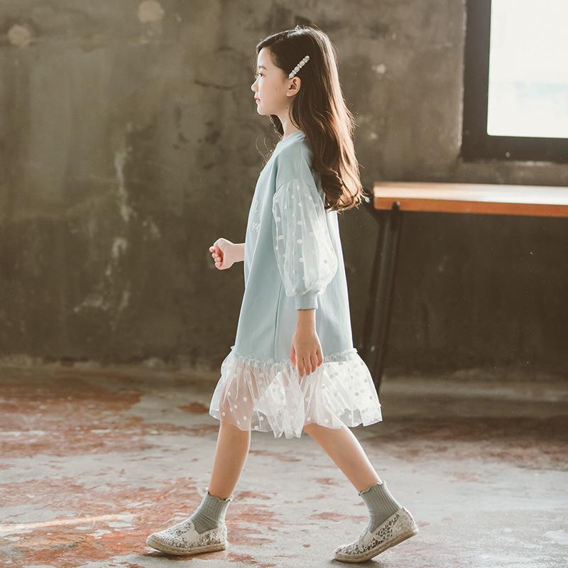 Moda 2019 Crianças Meninas manga comprida roupa laço branco Primavera Outono Roupa adolescente vestido bebê camisola vestidos Y200317