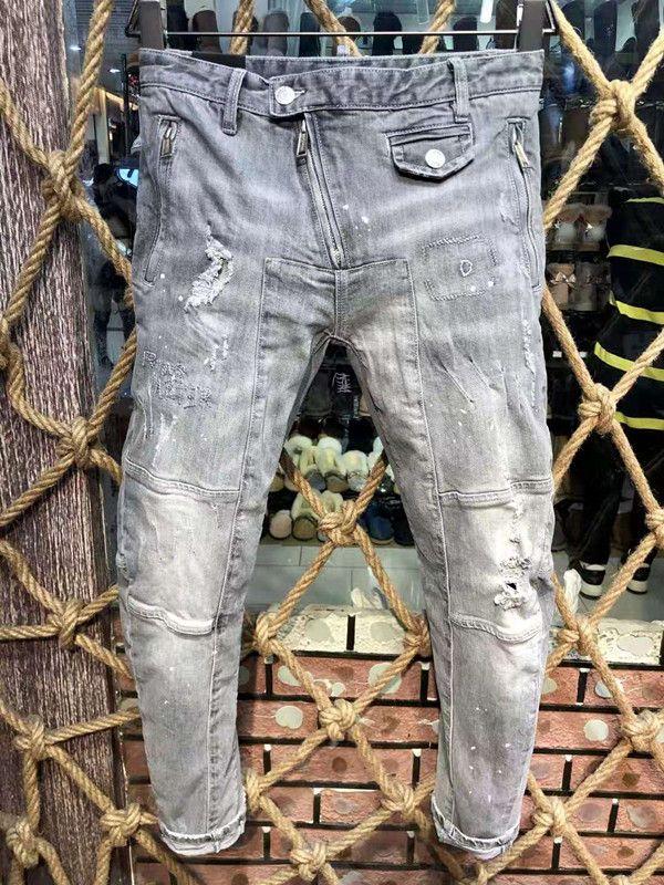 مصمم رجالي جينز أزياء نمط السائق جينز أزرق مغسول رسالة مطبوعة نحيل الجينز للرجال زائد حجم EUR حجم 29-38