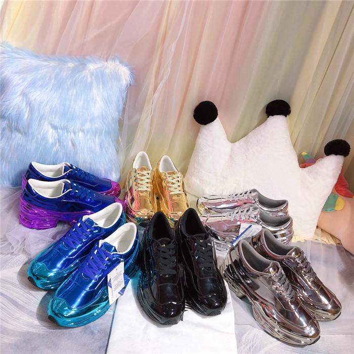 amantes do hot casuais Raf Simons sapatos extragrandes, Sapatos Ozweego em Silver Metallic efeito dip Sole instrutor do esporte Multicolor reflexivo Size35-46