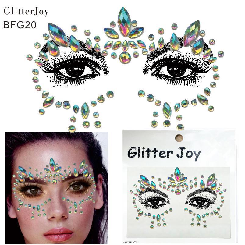 BFG20 Resina adesiva Faccia gioielli Gemme Temporary Tattoo Face Jewels Party Party Gemme per il corpo Adesivo con strass
