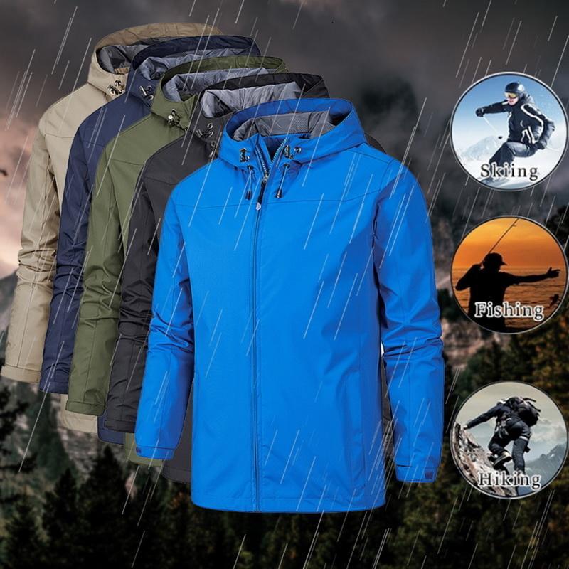Les hommes printemps automne coupe-vent imperméable vestes minces plein air Randonnée Alpinisme Pêche Veste hoodies de sport coupe-vent V191021