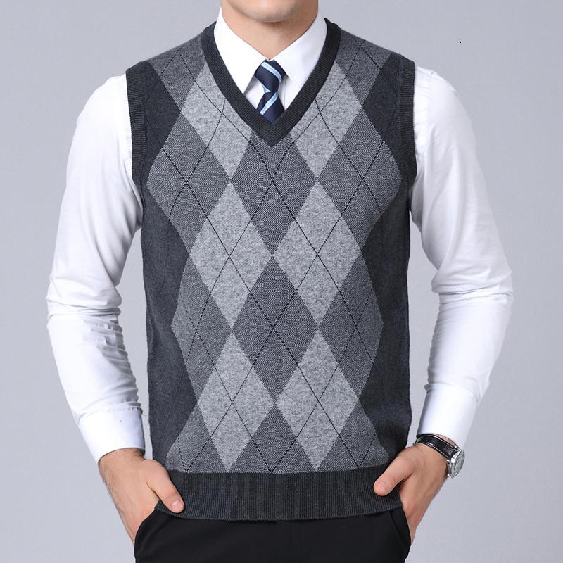 2019 Новая мода Марка свитер для Mens Пуловеры плед Slim Fit Перемычки Knitred жилет осень Корейский Стиль Casual Мужчины Одежда CJ191206