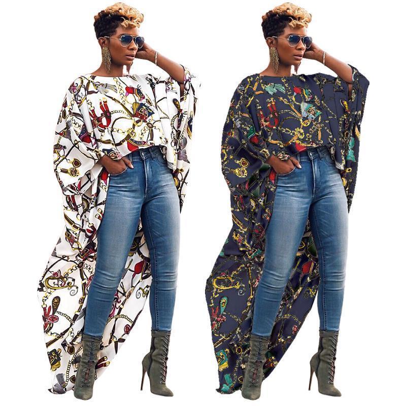 여성 빅 골드 체인 인쇄 짧은 전면 긴 돌아 가기 패션 블라우스 짧은 소매 티셔츠 불규칙한 긴상의를 들어
